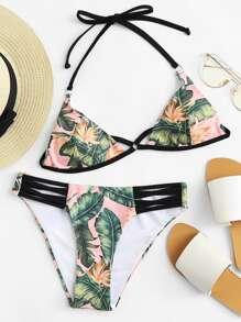Cut Out Front Tropical Print Bikini Set