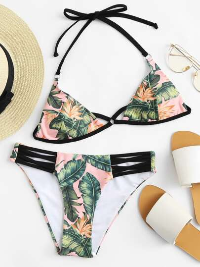 Cut Out Front Tropical Print Bikini Set