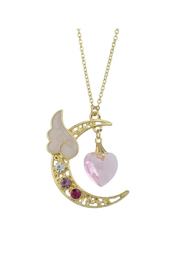 Pink Long Chain Moon Heart Wings Rhinestone Pendants Necklace rhinestone heart chain pendant necklace