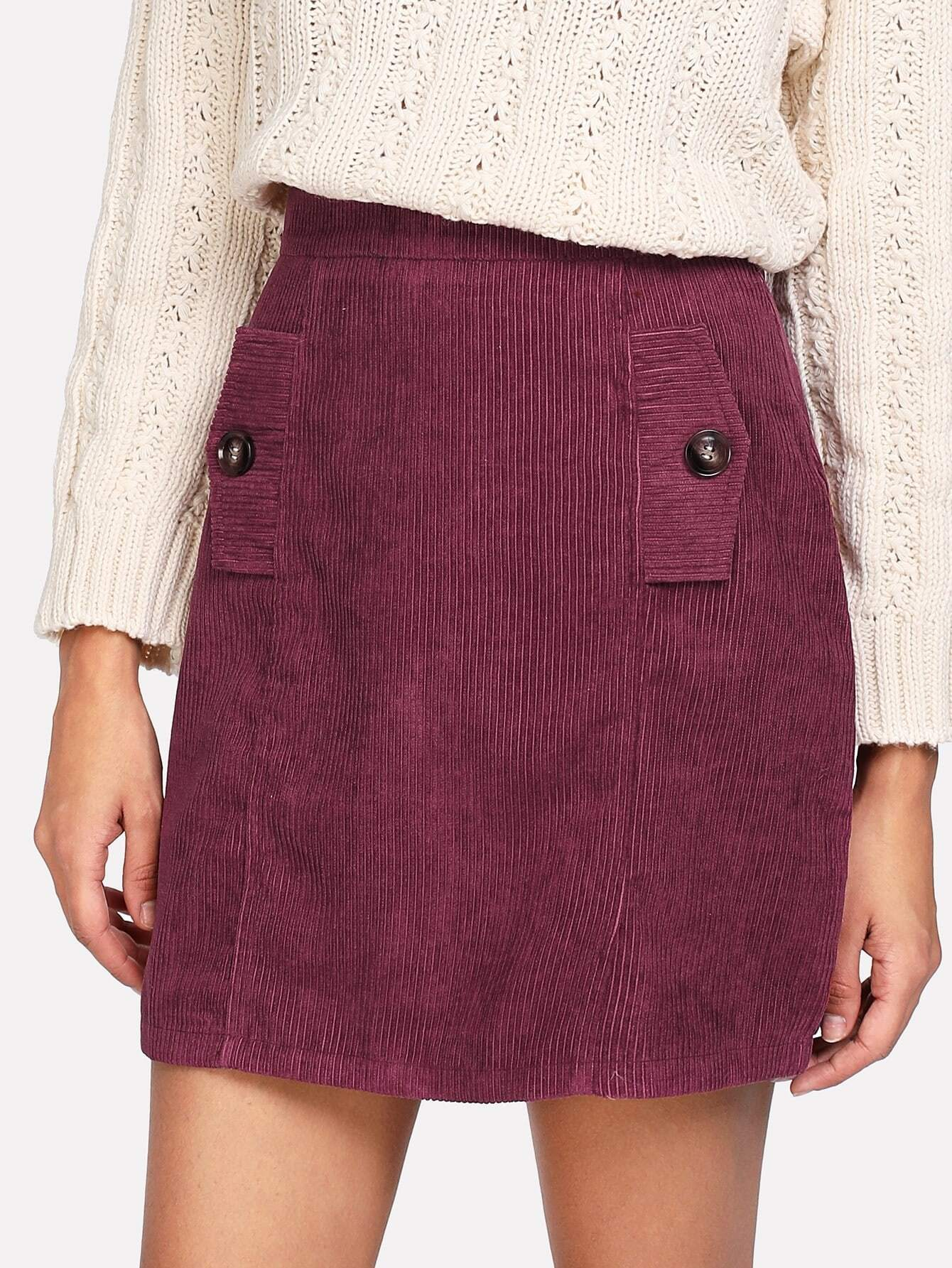 Zip Back Corduroy Skirt botanical embroidery zip back skirt