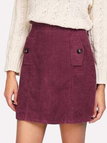 Zip Back Corduroy Skirt