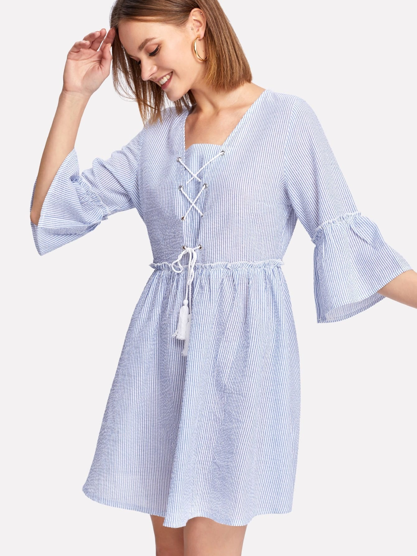 Tassel Lace Up Front Ruffle Cuff And Hem Dress political participation of the tea tribes community