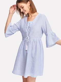 Tassel Lace Up Front Ruffle Cuff And Hem Dress
