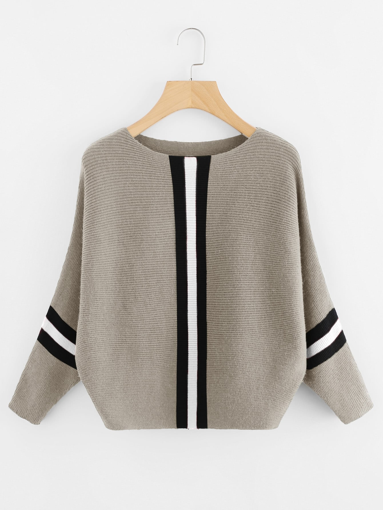 Contrast Striped Panel Ribbed Sweater sweater171215001