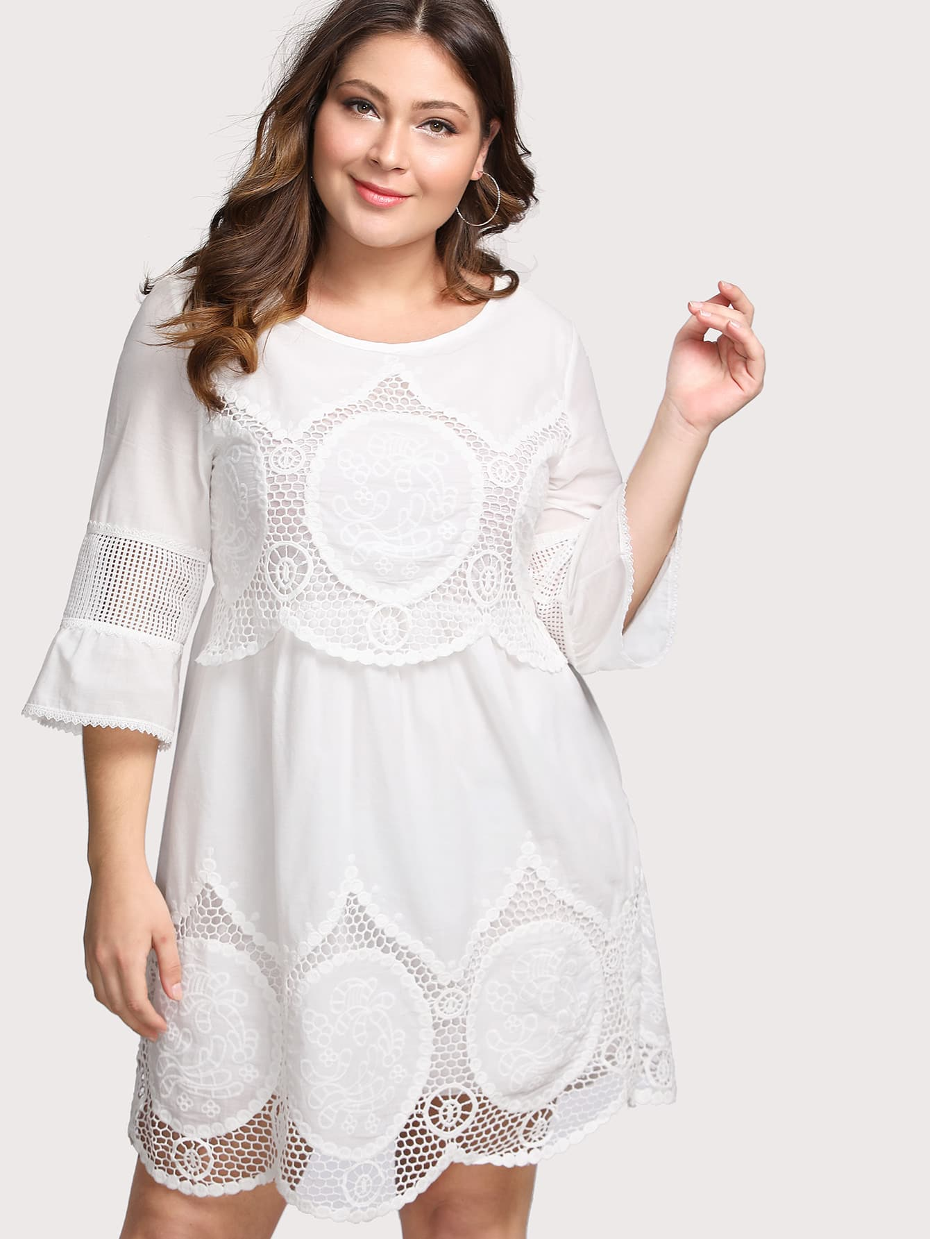 Hollow Out Crochet Panel Dress hollow out embroidery panel dress