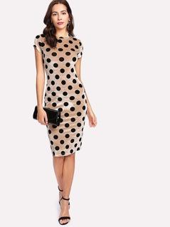 Polka Dot Velvet Pencil Dress