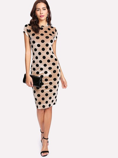 Polka Dot Velvet Pencil Dress