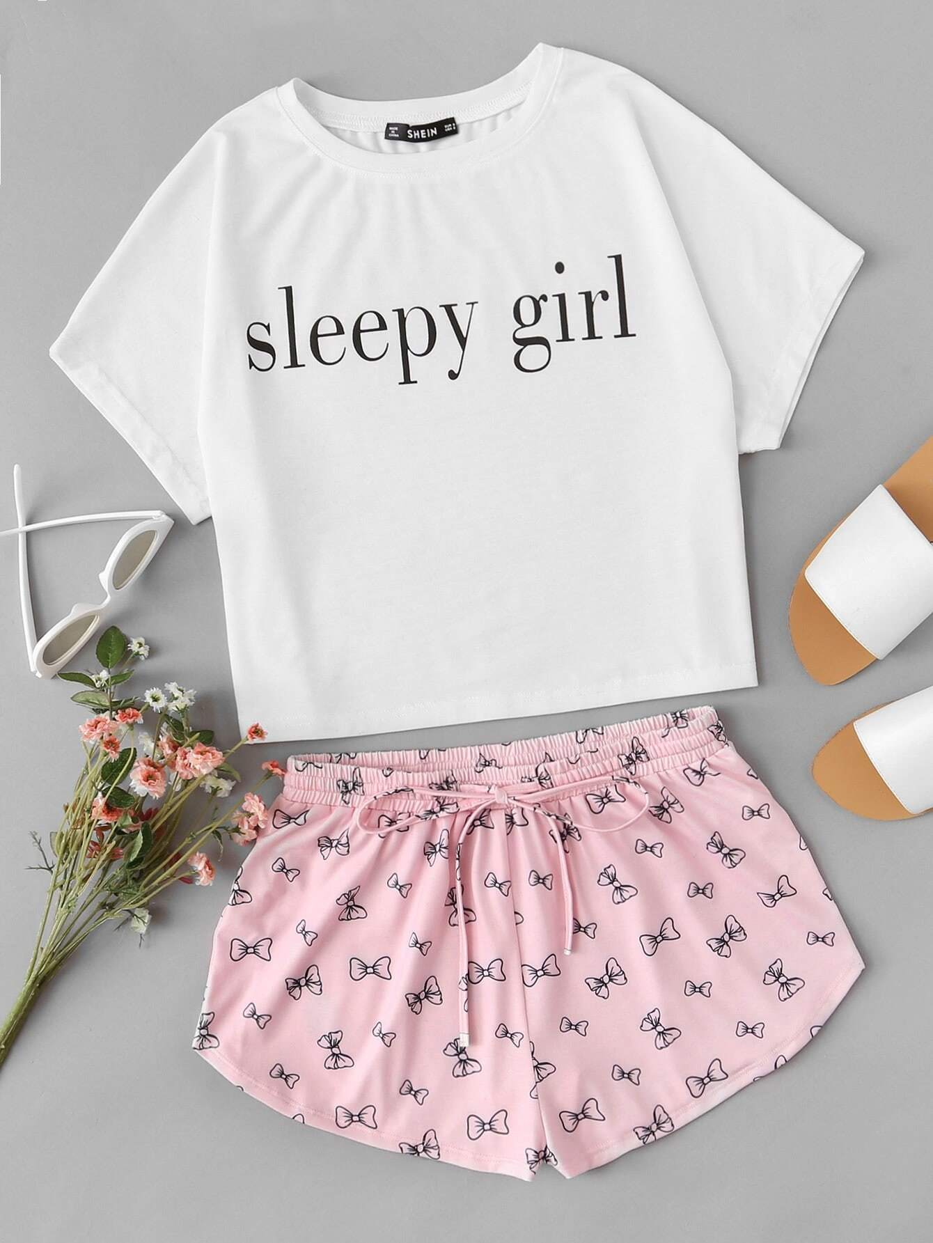 Graphic Tank Top And Shorts PJ Set letter graphic long tank top