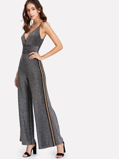 Contrast Tape Side Glitter Cami Jumpsuit