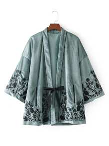 Kimono brodé en velours avec lacet
