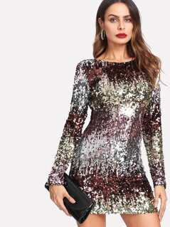 Ombre Sequin Mini Dress