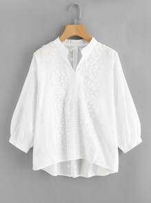 Pointelle Detail Flower Applique Blouse