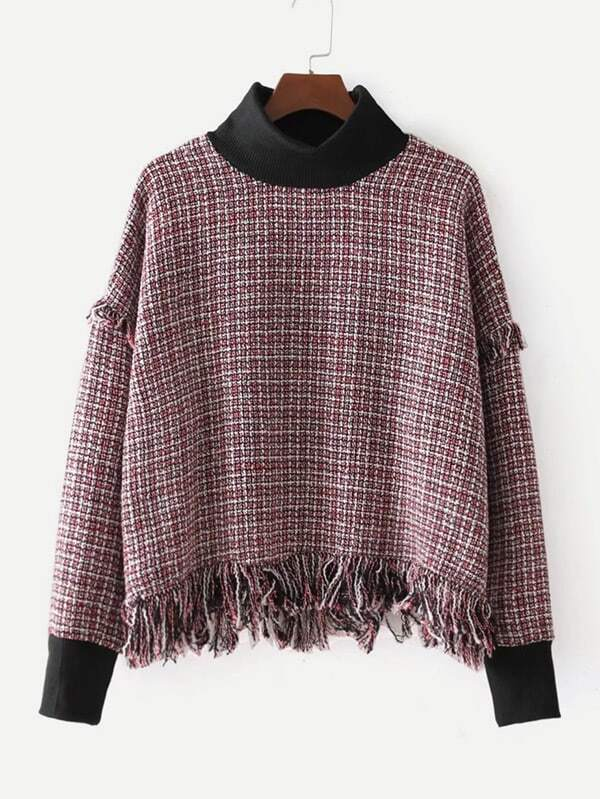 Contrast Trim Fringe Hem Tweed Top lace trim fringe detail tweed top