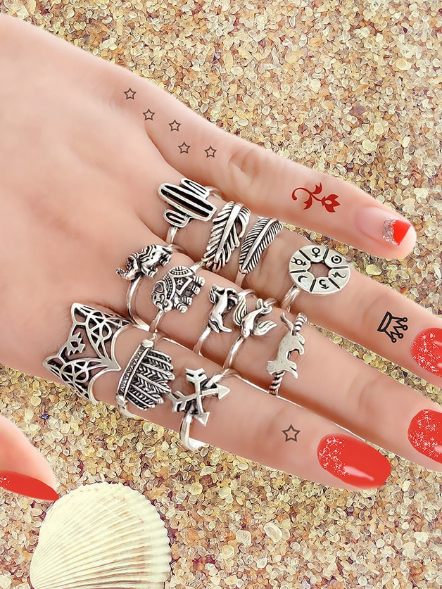 12 Pcs/Set Vintage Jewelry Antique Silver Color Knuckle Ring Set