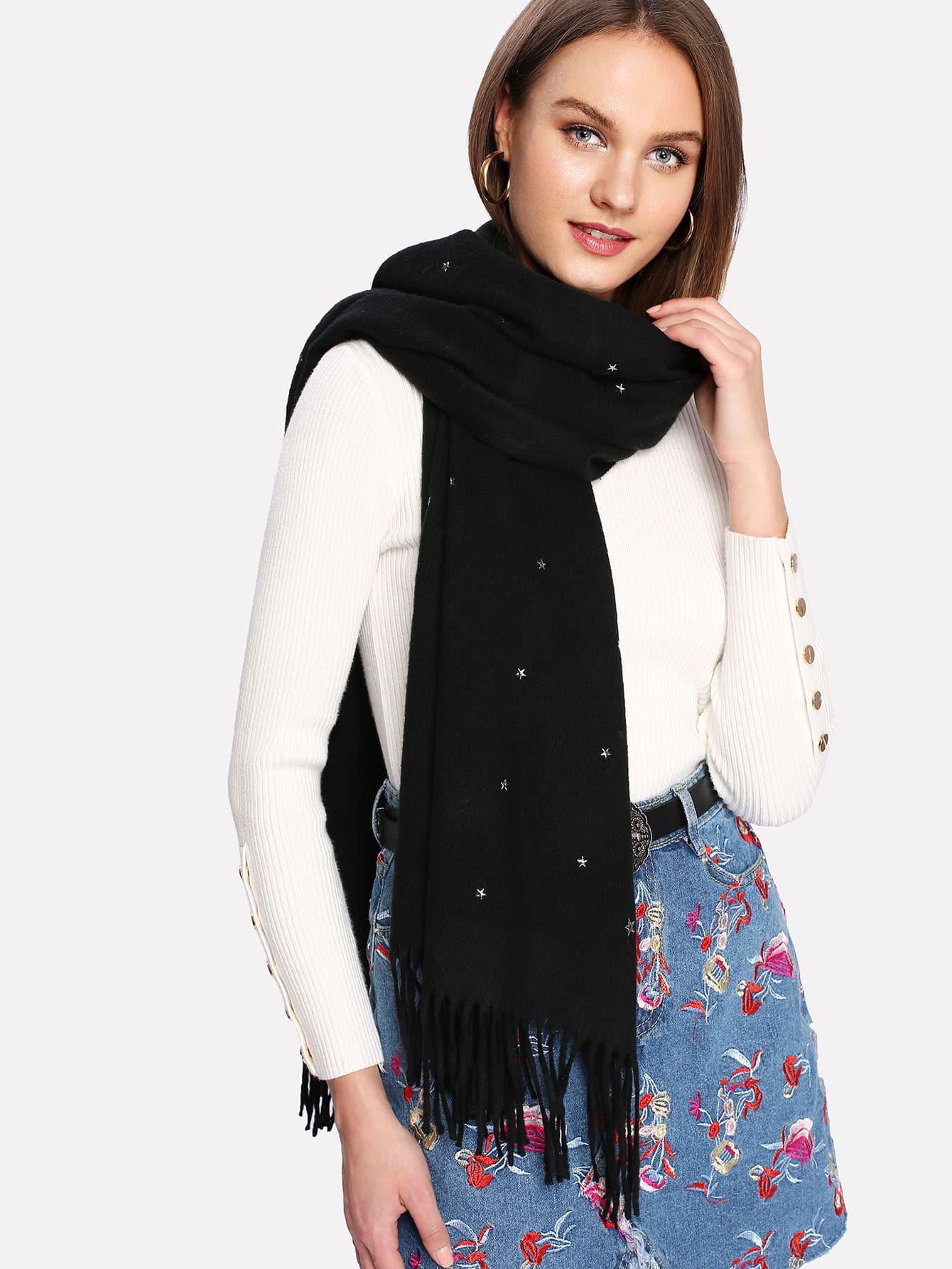 Fringe Trim Star Decorated Scarf mini star print fringe tassel scarf
