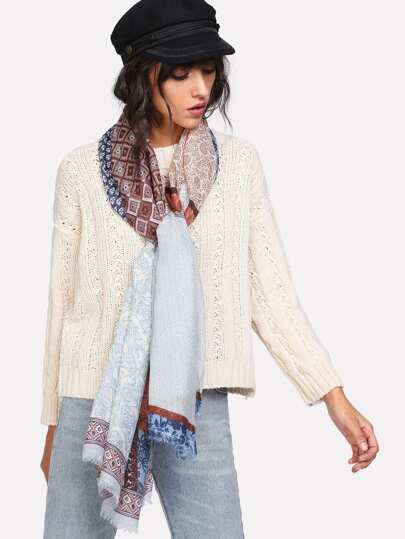 Frayed Trim Geometric Pattern Scarf