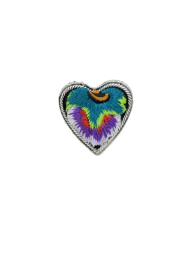 Purple Handmade Embroidery Flower Pattern Heart Finger Rings
