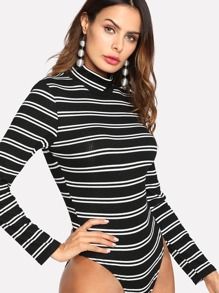 High Neck Striped Knit Bodysuit
