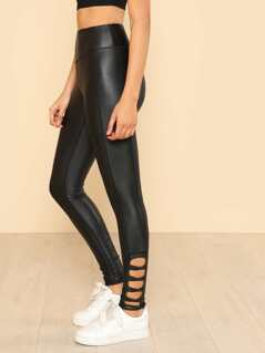 Leather Criss Cross Side Detail Leggings BLACK