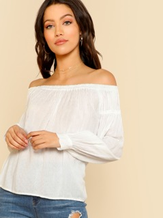 Vintage Off Shoulder Top OFF WHITE