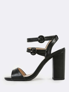 Patent Double Ankle Strap Chunky Heels BLACK