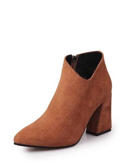 Side Zip V Cut Block Heeled Boots