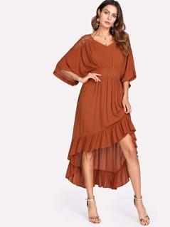 Contrast Lace Ruffle Dip Hem Dress