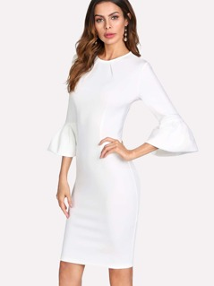 Flounce Sleeve Form Fitted Dress