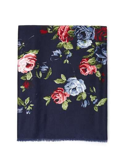 Frayed Trim Flower Print Scarf