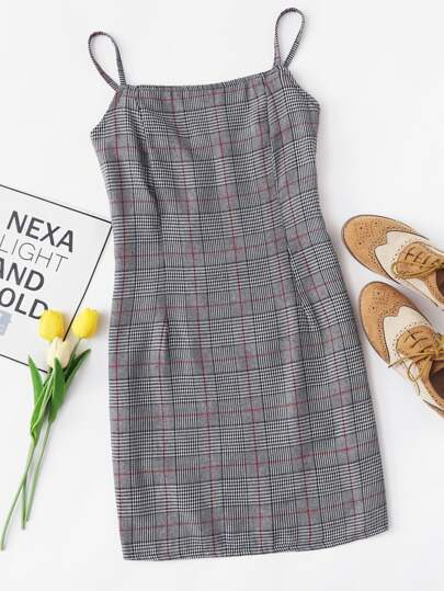 Plaid Pleated Detail Cami Dress