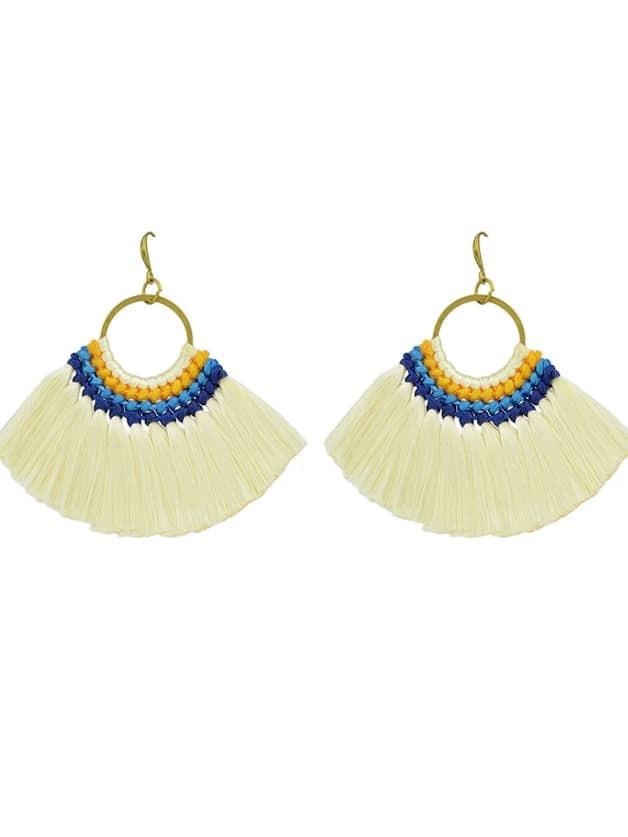 Beige Boho Fan Shaped Earrings Ethnic Style Tassel Big