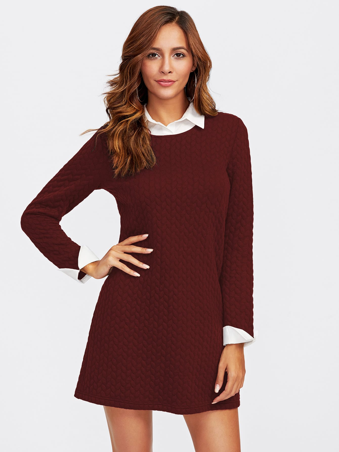 Contrast Collar And Cuff Textured 2 In 2 Dress lace collar and cuff tunic dress