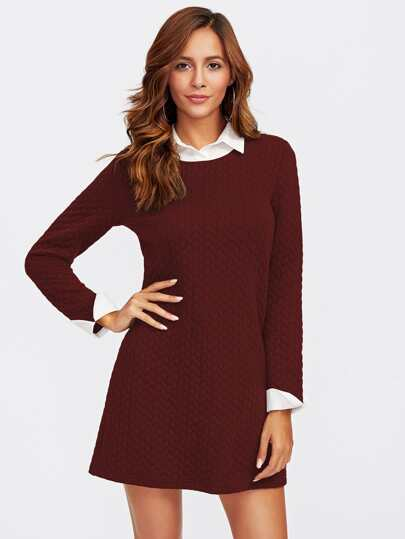 Contrast Collar And Cuff Textured 2 In 2 Dress