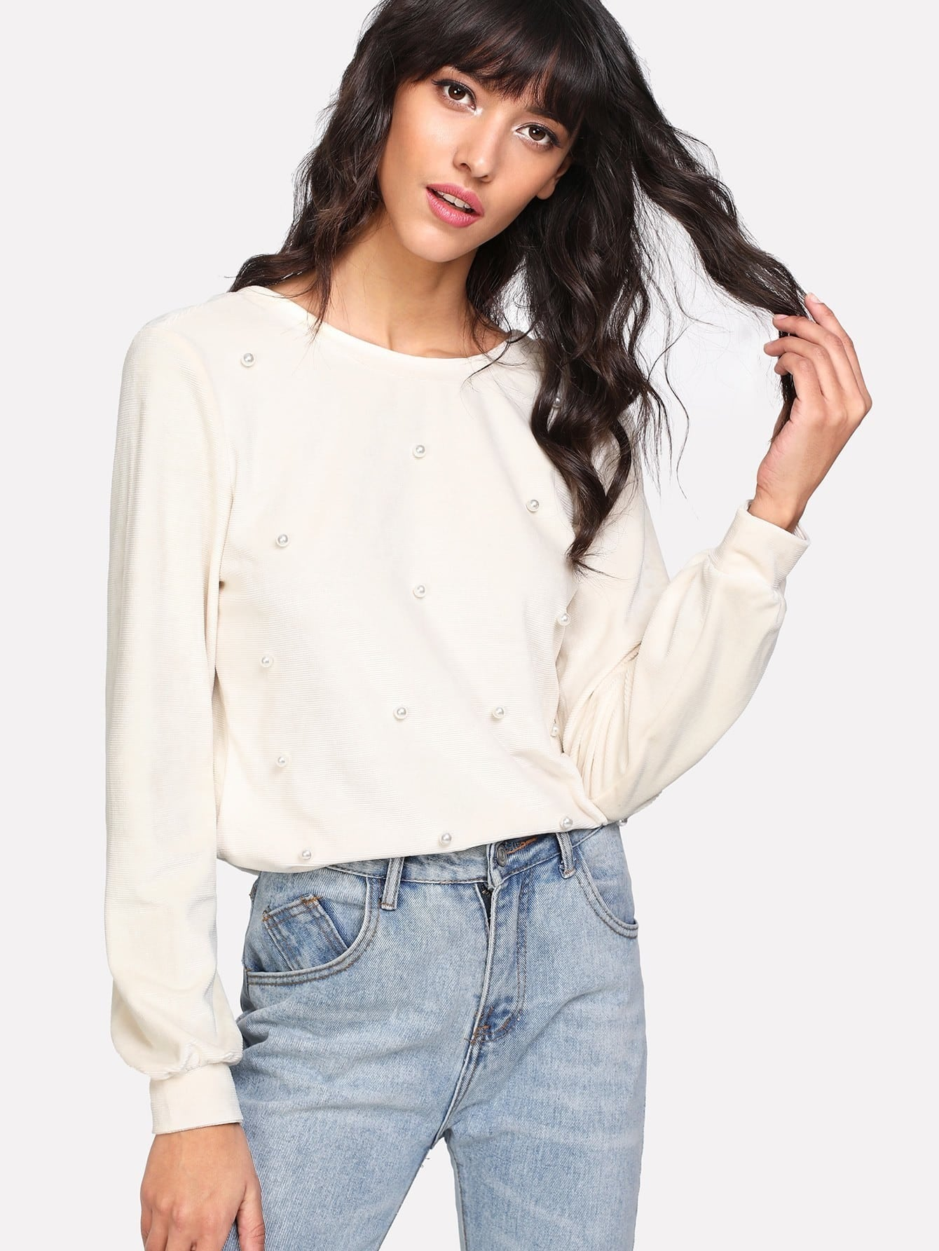 Pearl Beading Button Up V Back Top pearl beading frill hem textured top