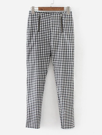 Zipper Fly Gingham Pants