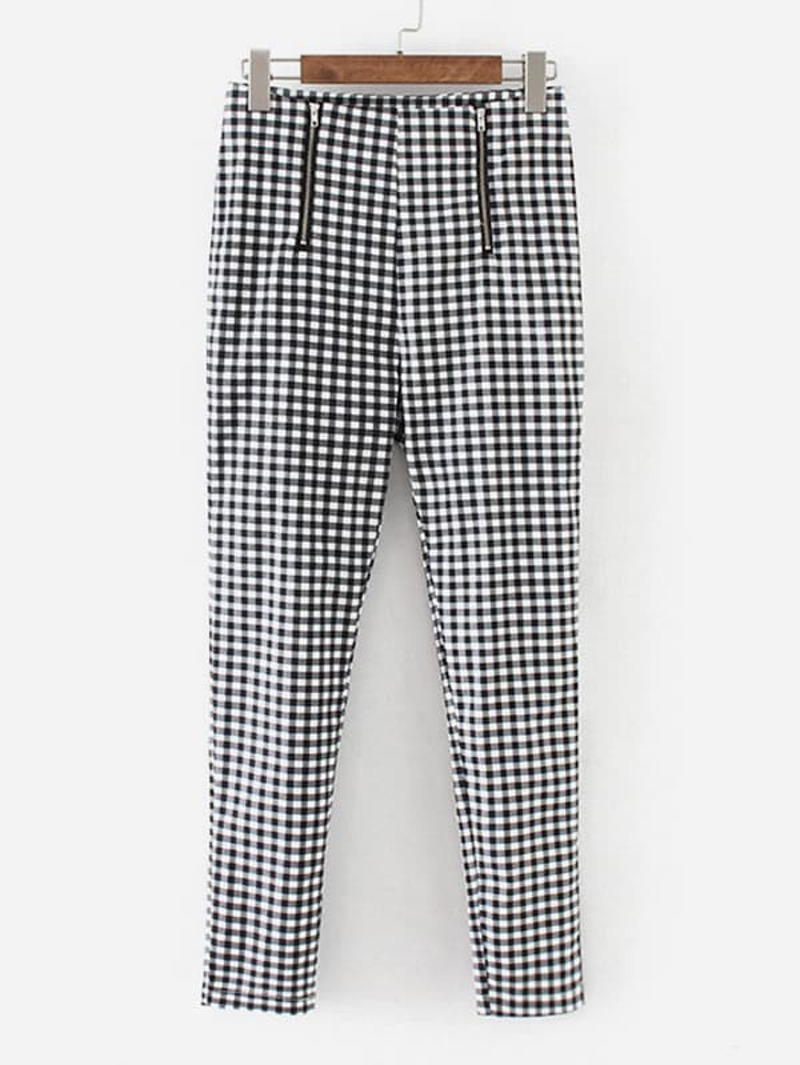 Zipper Fly Gingham Pants, Black and white