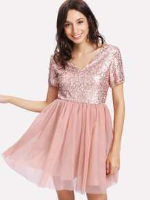 Open Back Sequin Bodice Dress