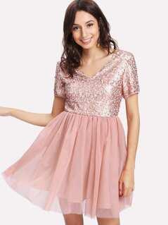 Open Back Sequin Bodice Dress