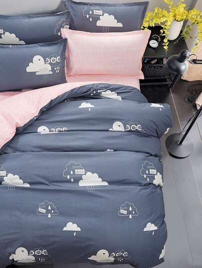 1.2m 4Pcs Rain Cloud Print Duvet Cover Set