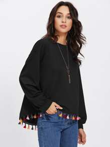 Colorful Tassel Trim Dip Hem Pullover