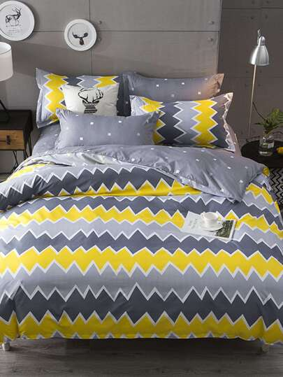 2.2m 4Pcs Chevron Print Duvet Cover Set