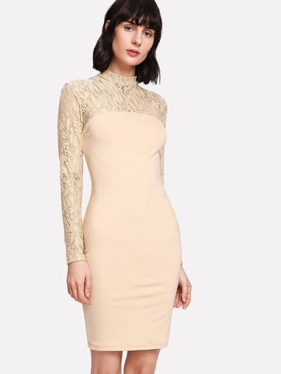 Floral Lace Shoulder Pencil Dress