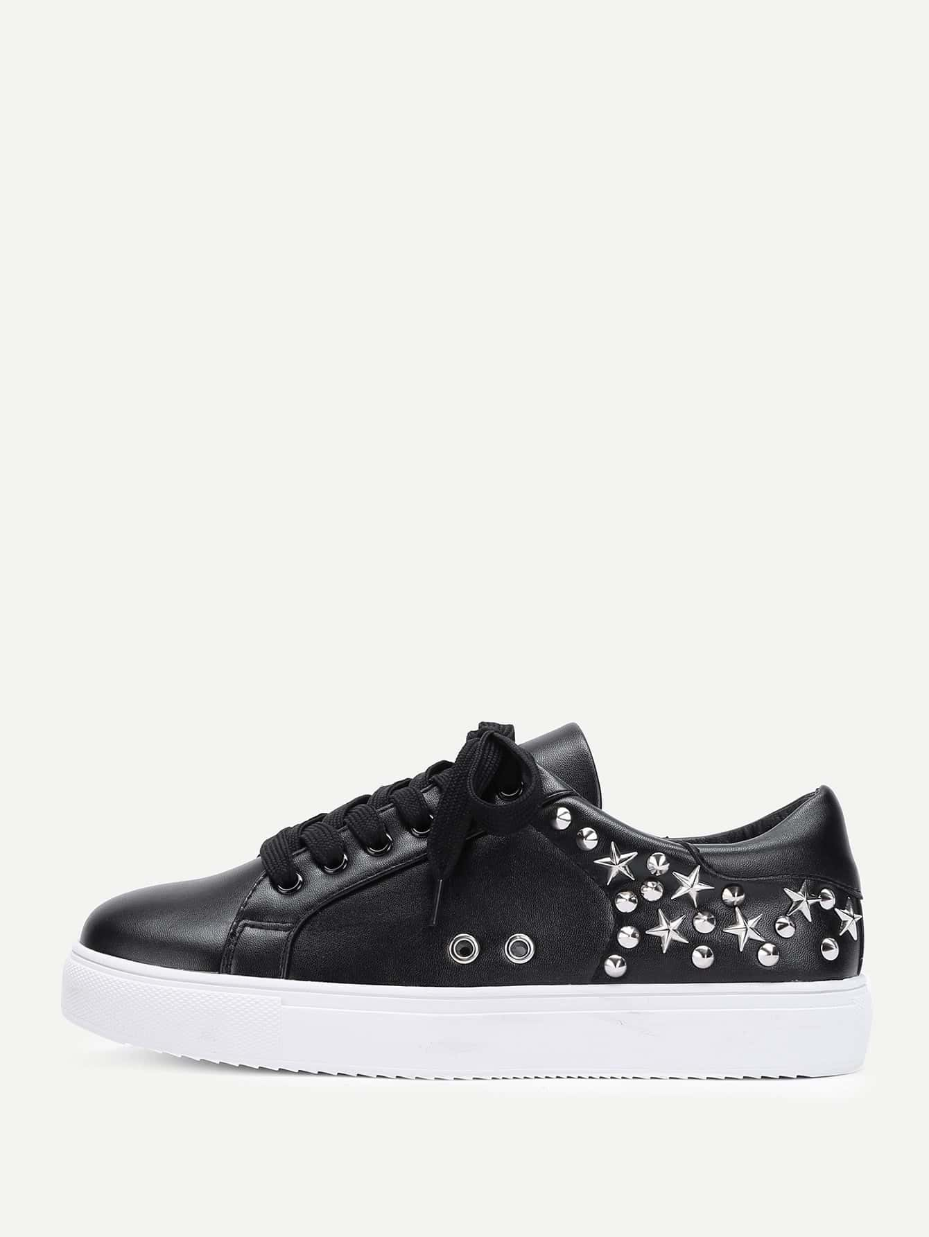 Studded Design Lace Up Sneakers