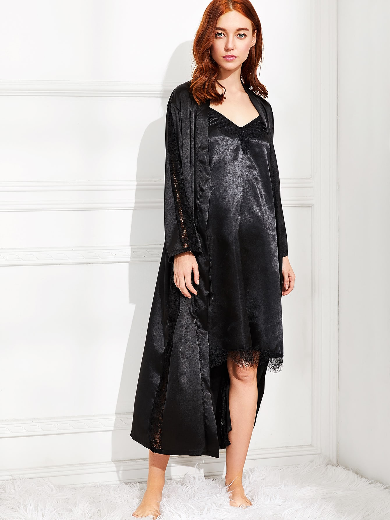 robe longue en satin en dentelle avec lacet french shein sheinside. Black Bedroom Furniture Sets. Home Design Ideas