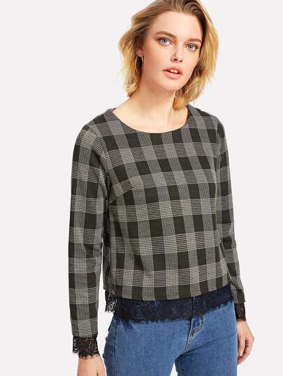 Lace Trim Plaid Top