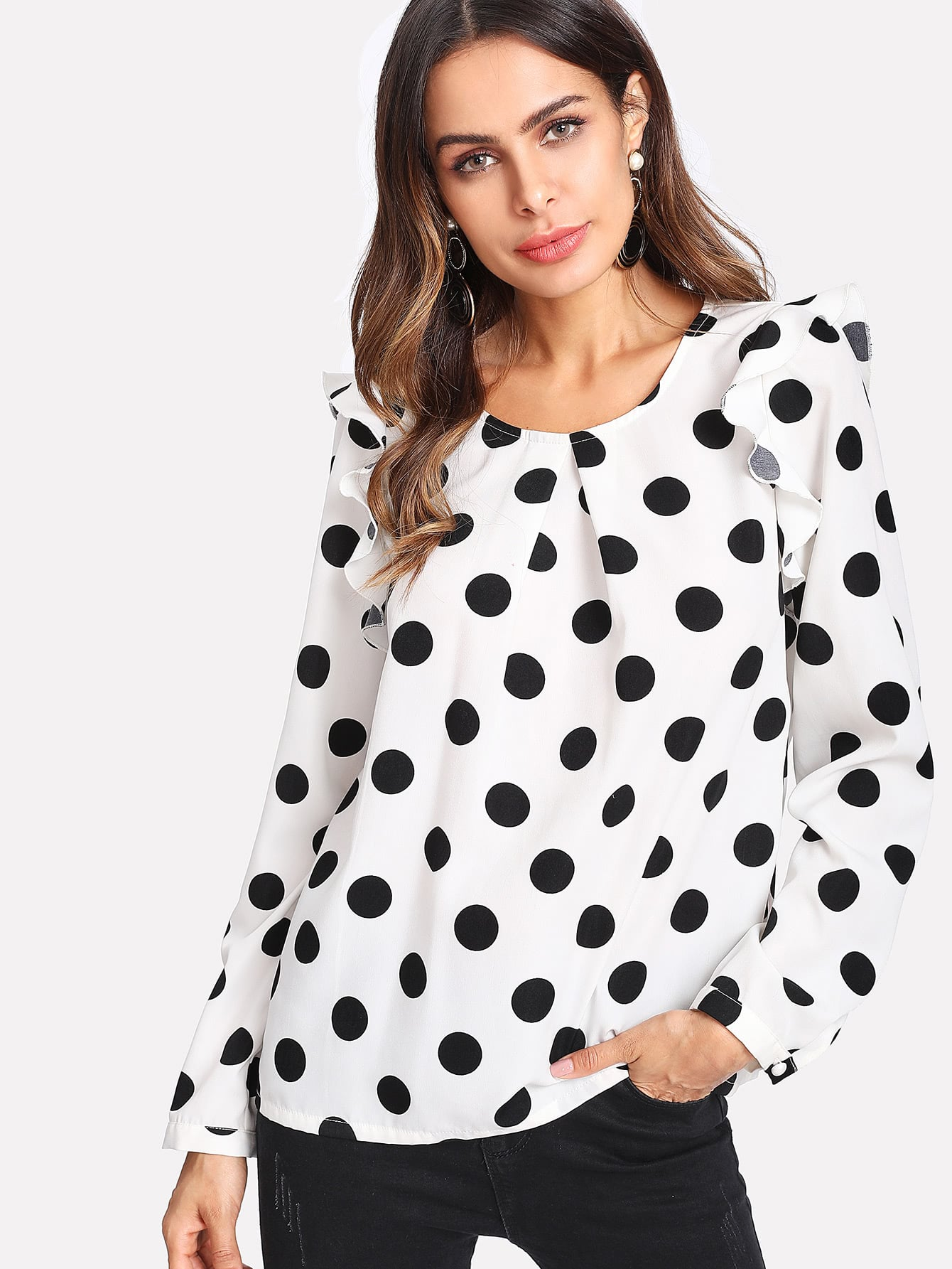 Pleated Neck Ruffle Trim Polka Dot Top