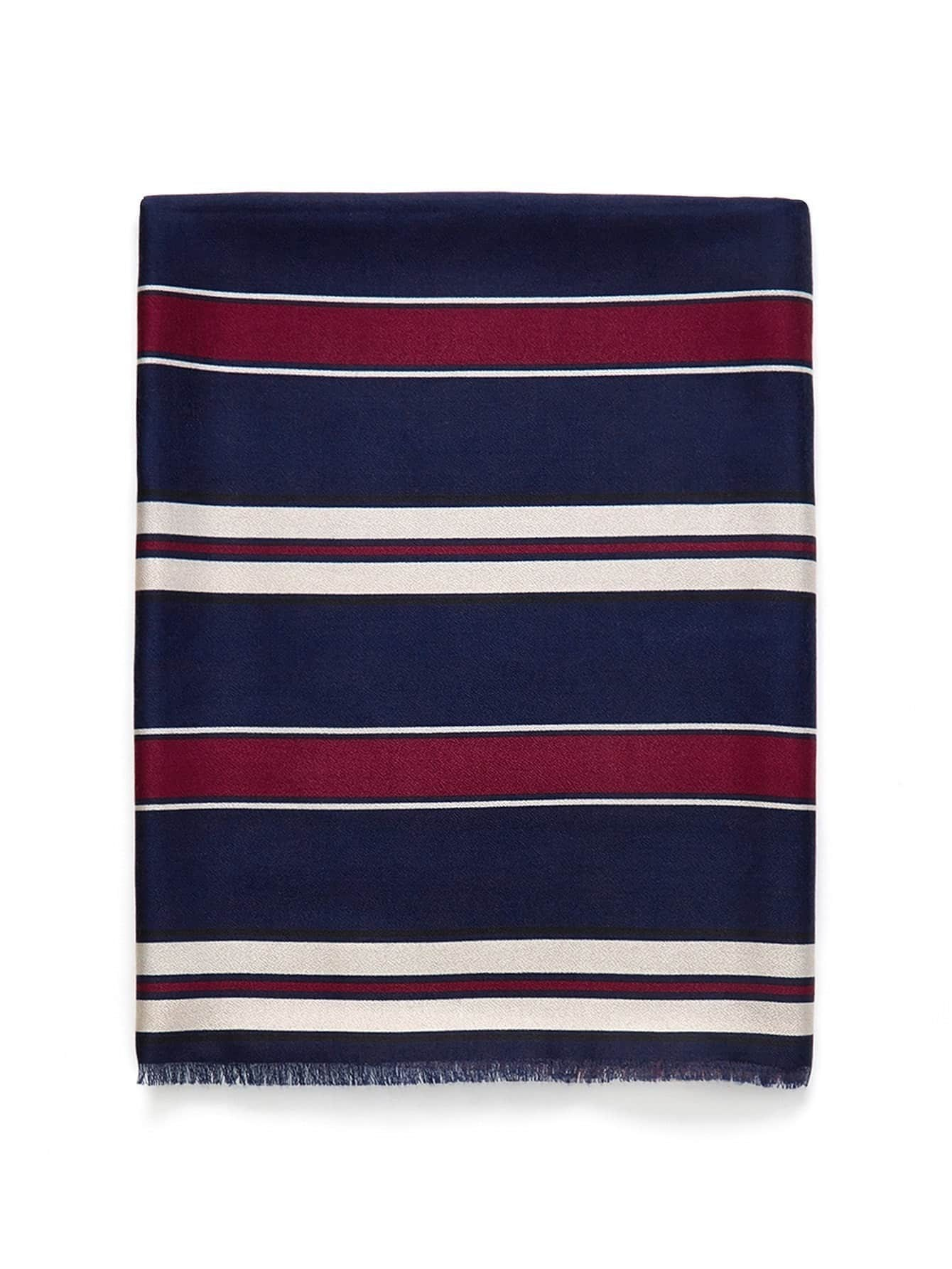Frayed Trim Striped Scarf все цены