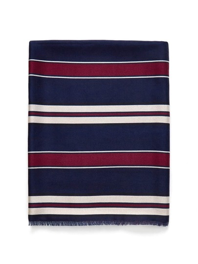 Frayed Trim Striped Scarf
