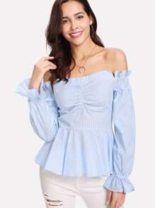 Shirred Front Off Shoulder Striped Peplum Top
