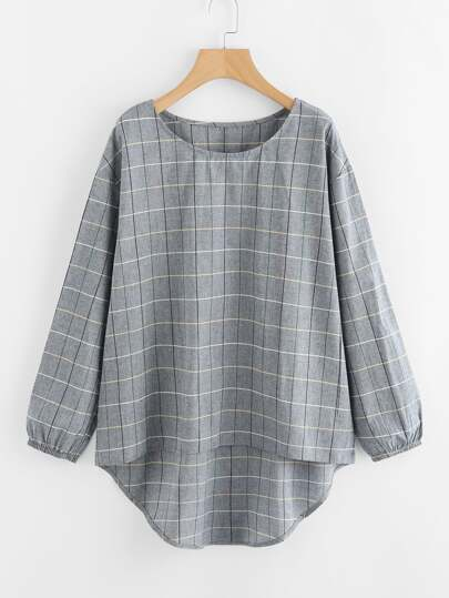 Grid High Low Blouse